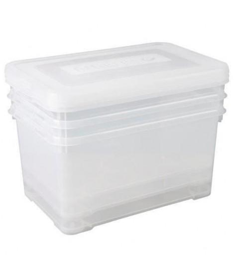 CURVER Lot de 3 boîtes de rangement - 50L - Transparent - L 60 x P 40 x H 39,5 cm