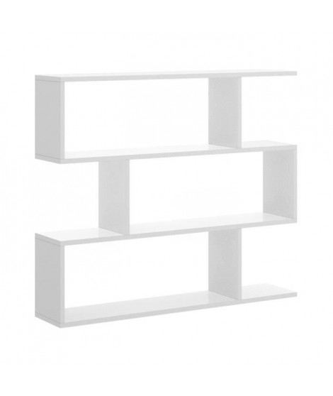 Meuble étagere - Blanc brillant - L 110 x P 25 x H 96 cm - LIS