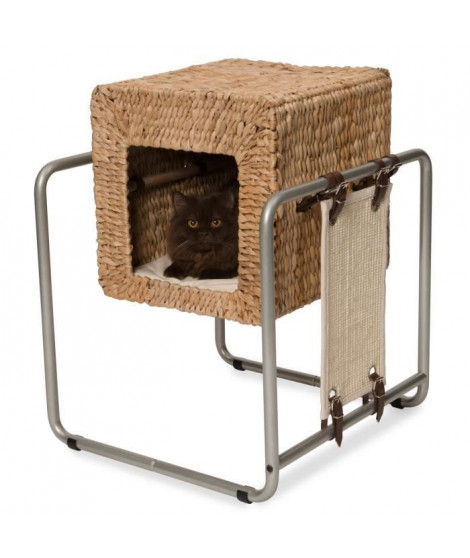 VESPER Meuble a chat V-Cube - Feuille de banane
