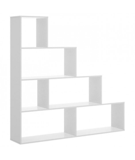 Bibliotheque 6 Compartiments - Blanc - L 145 x P 29 x H 145 cm - TEN