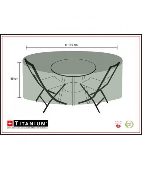 Housse pour table ronde + chaises 150 - Noire