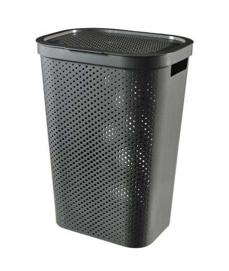 CURVER Coffre a linge 60L Infinity Dots - Plastique recyclé - Gris