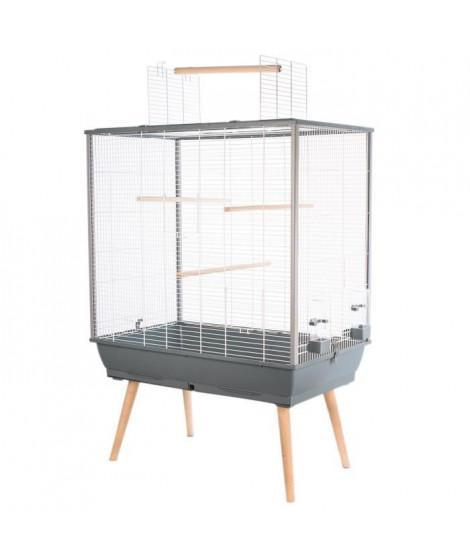 ZOLUX Cage surélevée Néo Jili pour oiseaux - L 78 x P 47,5 x H 112 cm - Gris