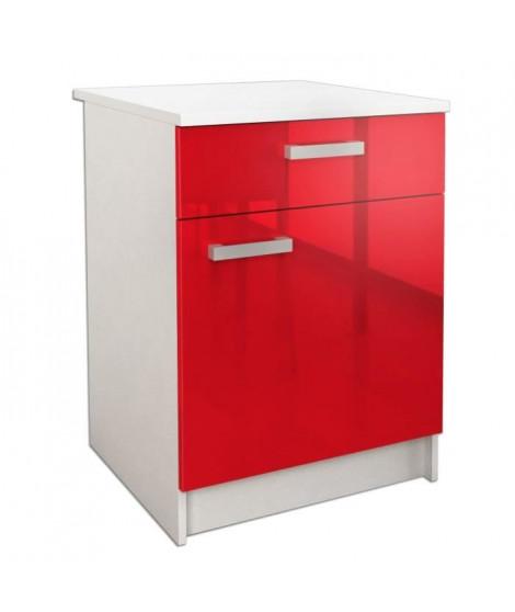 START Caisson bas de cuisine avec plan de travail L 60 cm - Rouge Brillant