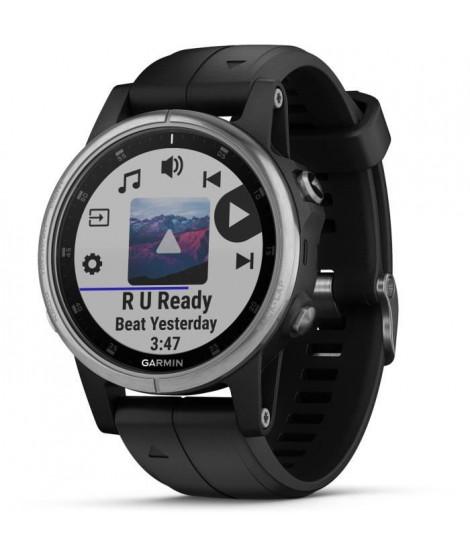 Garmin - Montre GPS de randonnée fenix 5s Plus, Silver noire avec bracelet noir