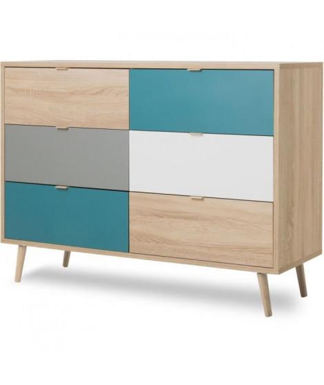 CUBA Commode 6 tiroirs - Style scandinave - Décor chene Sonoma - L 120 x P 40 x H 87 cm