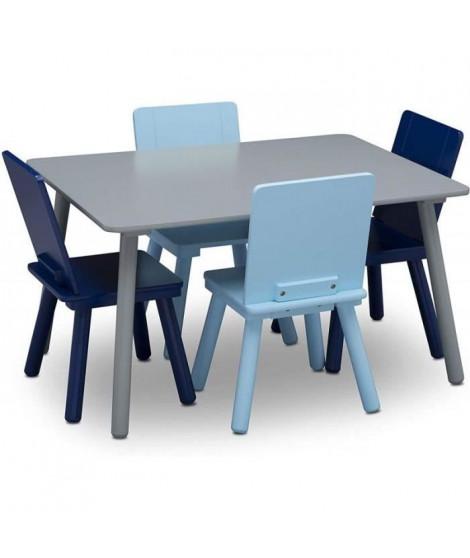 DELTA CHILDREN Table rectancgulaire gris + 4 chaises bois bleu