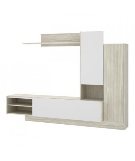 Meuble Séjour 2 portes et 1 étagere - Décor chene et blanc - L 218 x P 40 x H 168 cm - ELM