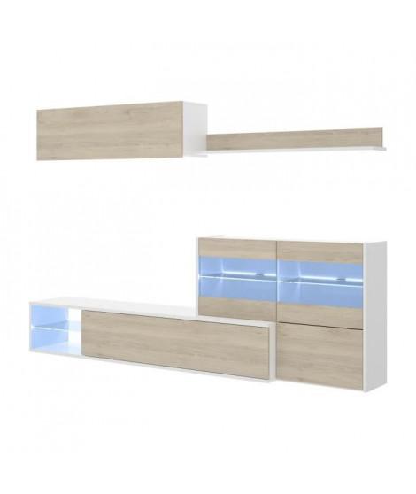 Ensemble meuble séjour living avec vitrine LED - Décor chene et blanc -  - L 260 x P 41 x H 180 cm - UMA