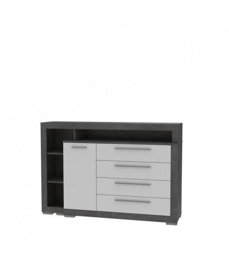 Commode 4 tiroirs 1 porte - Blanc et béton gris foncé - L 161,8 x P 42 x H 107,4 cm - JULIETTA