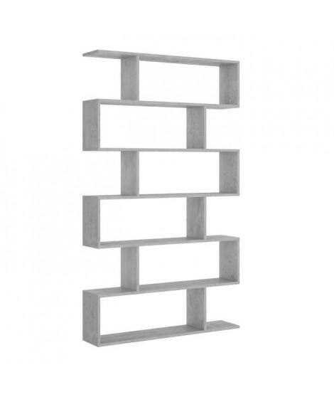 Meuble étagere - Décor béton - L 80 x P 25 x H 190 cm - LIS
