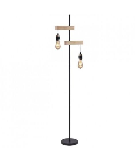 DETROIT Lampadaire industriel 2 tetes en bois - 40 x 25 x H150 cm - Noir - Ampoules décoratives E27 40W fournies