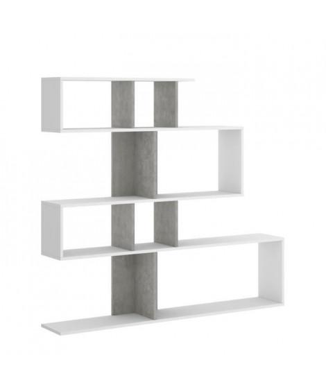 Meuble étagere - Décor blanc et béton - L 139 x P 25 x H 130 cm - LAU