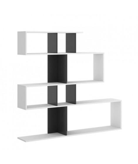 Meuble étagere - Décor blanc et noir - L 139 x P 25 x H 130 cm - LAU