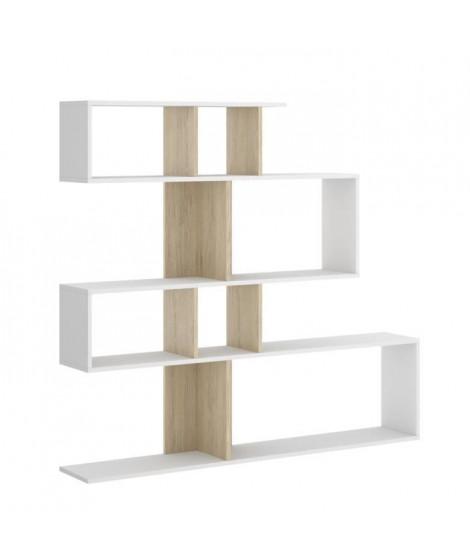 Meuble étagere  - Décor blanc et chene naturel.  - L 139 x P 25 x H 130 cm - LAU