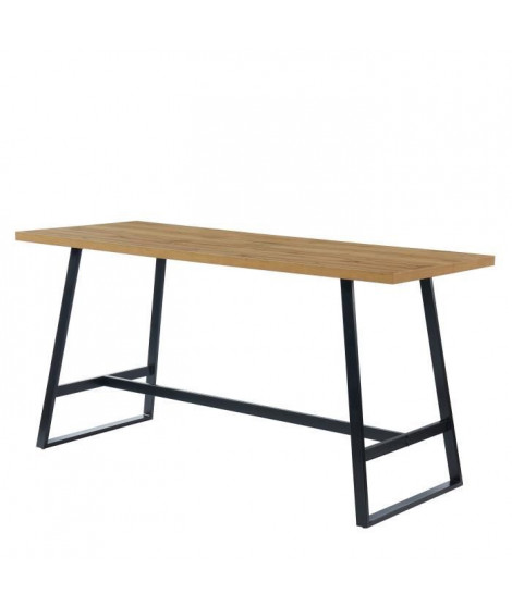 YBA Table haute 6 personnes - Métal et décor bois - L 200 x P 80 x H 100cm