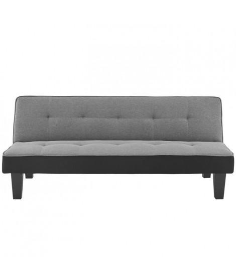 CELIA Banquette Clic-Clac 3 places contemporain capitonné - Tissu gris et simili noir - L 168 x P 73 x H 71 cm