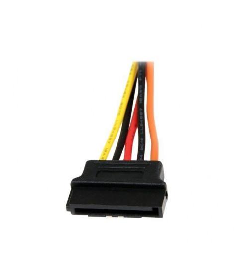 Câble répartiteur en Y d'alimentation SATA - 15 cm - Câble doubleur alimentation SATA vers 2x SATA avec verrouillage - PYO2LSATA