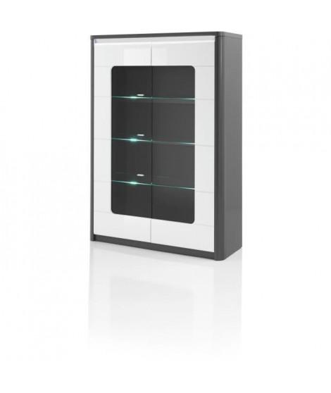 Vitrine 2 portes - Blanc - L 120 x P 46 x H 180 cm - BELLINI