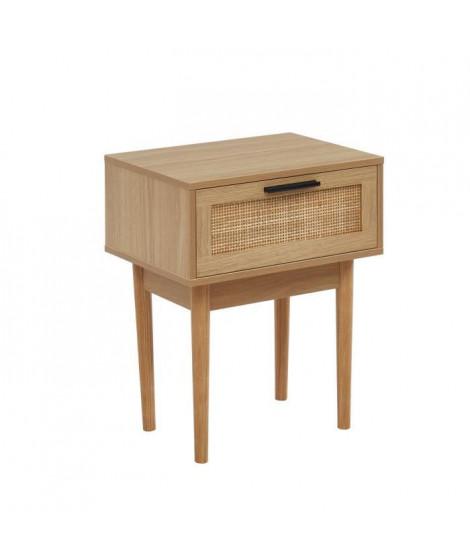Table de chevet avec cannage naturel - 1 tiroirs - Décor imitation bois - L 40 x P 29,5 x H 50cm - AMANA