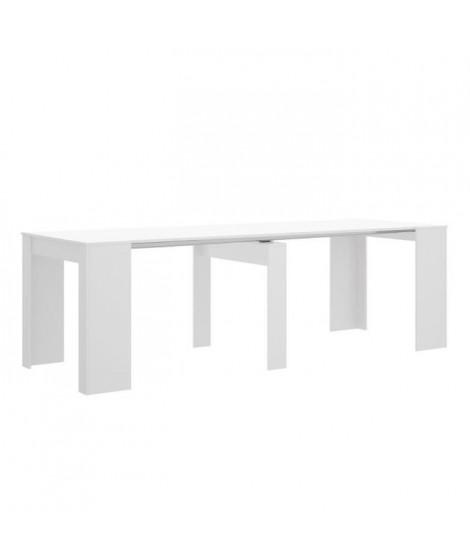 Console extensible en table 4-10 personnes - Décor blanc - L 239 x P 90 x H 77 cm - KIONA