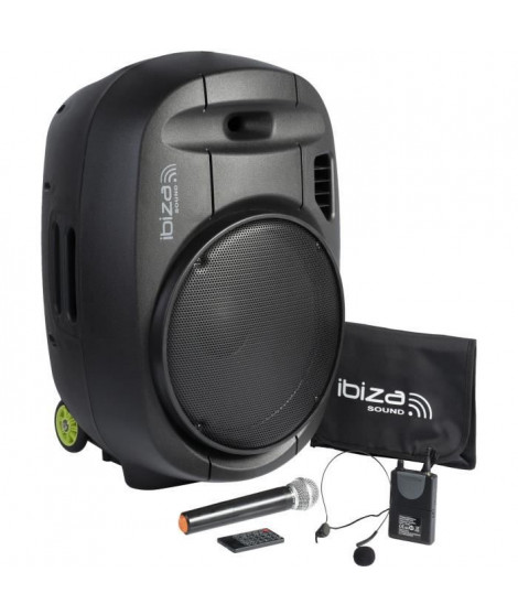 "IBIZA - PORT15VHF-MKII - Systeme enceinte de sonorisation portable autonome 15""/38CM AVEC USB, Bluetooth et 2 micros VHF"