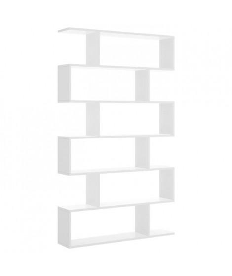 Meuble étagere - Décor blanc brillant - L 80 x P 25 x H 190 cm - LIS
