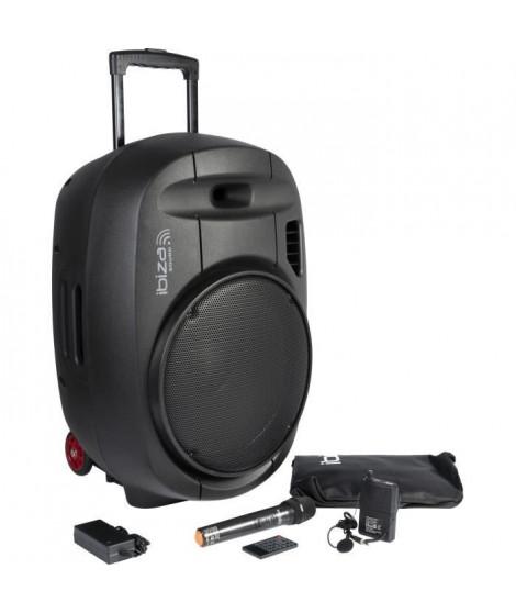 "IBIZA - PORT15UHF-MKII - Systeme enceinte de sonorisation portable autonome 15""/38CM AVEC USB, Bluetooth et 2 micros UHF"