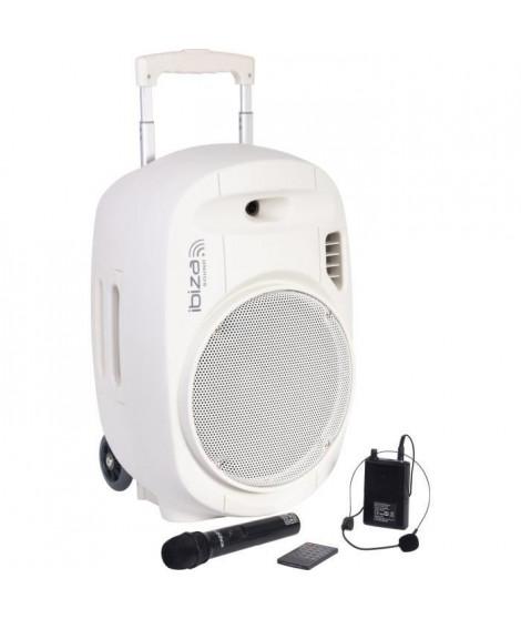 "IBIZA - PORT12UHF-WH-MKII - Systeme enceinte de sonorisation portable autonome 12""/30CM avec USB, Bluetooth et 2 micros UHF -…"
