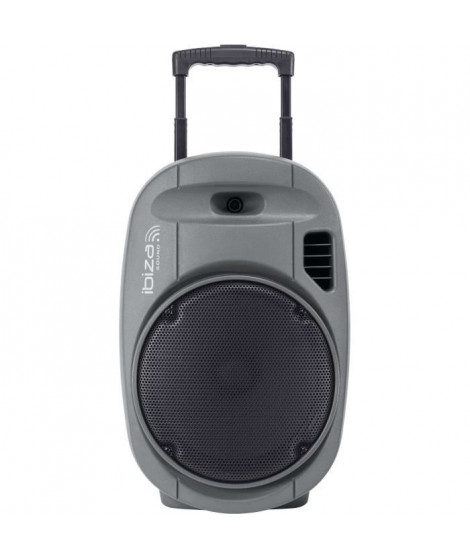 "IBIZA - PORT12VHF-GR-MKII - Systeme enceinte de sonorisation portable autonome 12""/30CM avec USB, Bluetooth et 2 micros VHF -…"