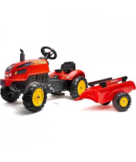 FALK - 2046AB - Tracteur a pédales X Tractor rouge avec capot ouvrant et remorque inclus