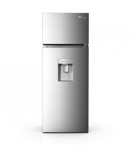 TRIOMPH TKDP207WS - Réfrigérateur Congélateur haut - 207 L (170 + 37) - Froid Statique -  A+ - L54,5 x H144 cm - Simili Inox