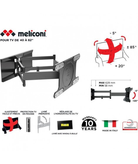 MELICONI 480870 Support mural TV Spécial OLED SDRP TV OLED inclinable et orientable grand angle pour TV
