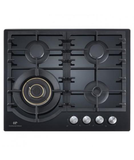 CONTINENTAL EDISON - CECTG4BD - Table de cuisson gaz - 4 foyers - L56 x P48 cm - Verre noir