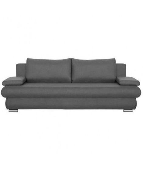 CLYDE Banquette convertible 3 places - Tissu gris - Style contemporain - L 187 x P 94 cm