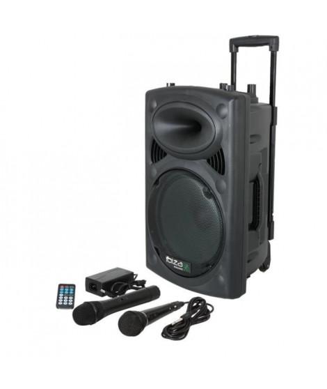 IBIZA PORT8UHF-BT - Enceinte portable autonome 8''/20cm avec USB-MP3, Bluetooth, 1 Micro UHF & 1 Micro Filaire