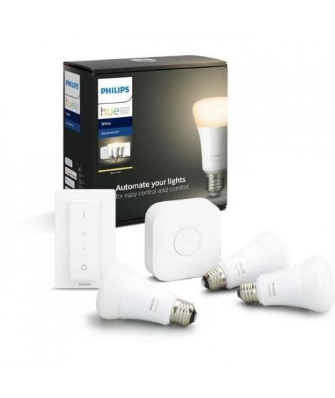 PHILIPS HUE Kit de démarrage White 3 ampoules avec pont de connexion et télécommande variateur - 10 W - E27