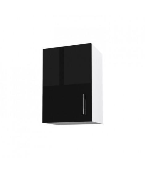 OBI Caisson haut de cuisine avec 1 porte L 40 cm - Blanc et noir laqué brillant