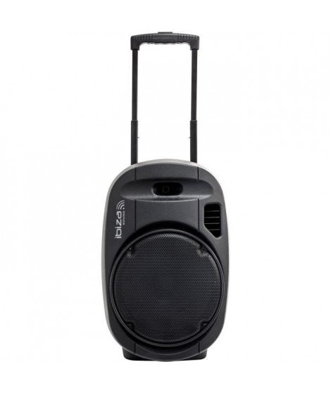 "IBIZA PORT12VHF-GR-MKII Systeme De Sonorisation Portable Autonome 12""/30Cm Avec Usb-Mp3, Vox, Bluetooth & 2 Micros Vhf - Noir"