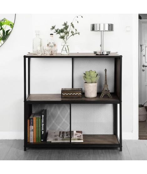 EMELY Meuble 2 étageres -  Décor bois - Style industriel - L 75 cm