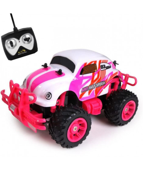 Auto rétro radiocommandée 21CM - batterie 4.8 V rechargeable + 2 piles AA fournies - + 6 ANS - rose