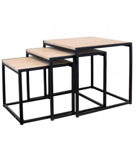 Lot de 3 Tables carrées gigognes - L 45 x P 45 x H 45 cm