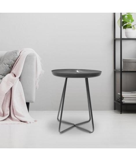 Table d'appoint plateau rond glossy - Gris - L 40 x P 40 x H 48,5 cm