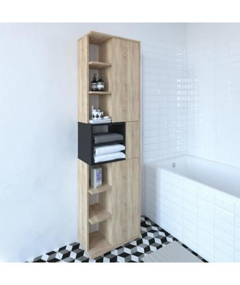 KUBE Colonne de salle bain L 50 cm - Décor chene naturel et noir mat