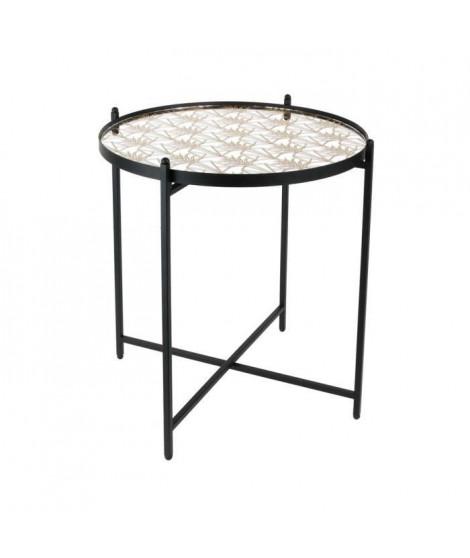 Table Métal Noir avec miroir - L 43 x P 43 x H 50 cm