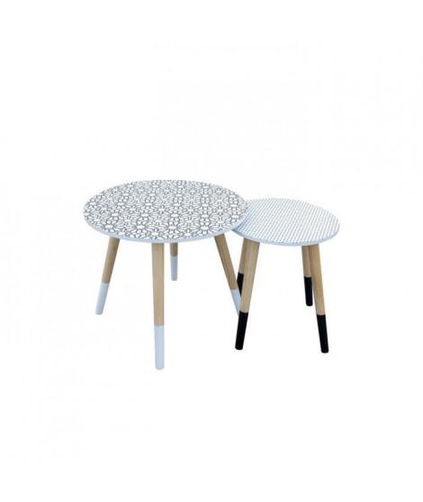 Tables Gigognes en bois - Blanc et noir - L 43 x P 43 x H 48 cm