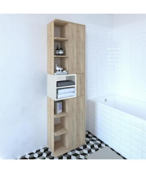 KUBE Colonne de salle bain L 50 cm - Décor chene naturel et blanc mat