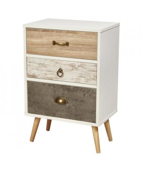 CEBU Chevet scandinave blanc et gris + pieds en bois naturel - L 45 cm
