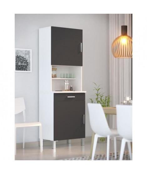 ECO Buffet de cuisine L 60 cm - Gris et blanc mat