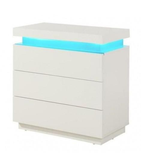 FLASH Commode de chambre style contemporain blanc brillant - L 75 cm